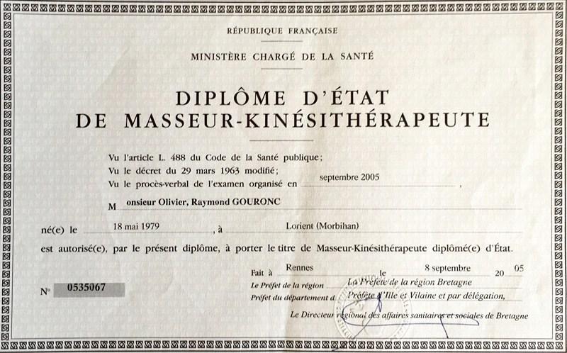 Diplome Etat masseur-kinesitherapeute O. Gouronc