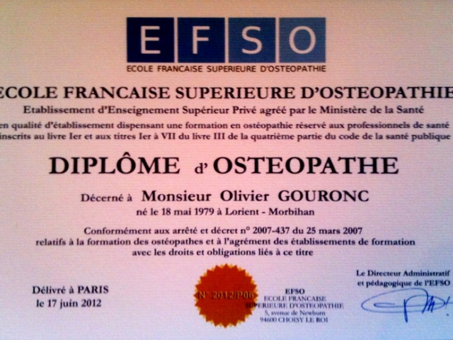 Diplome osteopathe olivier gouronc