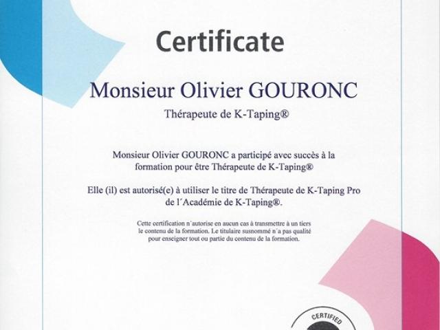 Olivier Gouronc certificat K-Taping